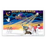 XmasSunrise/4 Ital Greyhounds Sticker (Rectangle)