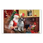 Santa/Keeshond Sticker (Rectangle)