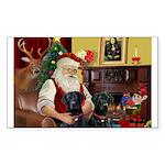 Santa's 2 Black Labs Sticker (Rectangle 50 pk)