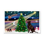 Xmas Magic & Choc Lab Rectangle Car Magnet