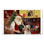 Santa's 2 Labs (Y+B) Sticker (Rectangle 10 pk)