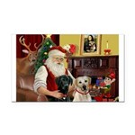 Santa's 2 Labs (Y+B) Rectangle Car Magnet