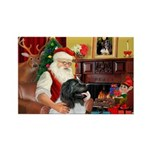 Santa's Newfie (L) Rectangle Magnet (10 pack)