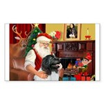 Santa's Newfie (L) Sticker (Rectangle)