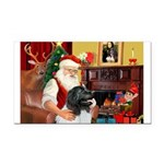 Santa's Newfie (L) Rectangle Car Magnet
