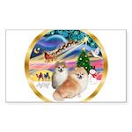 XmasMagic/2 Pomeranians Sticker (Rectangle)
