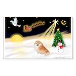 Night Flight/Pomeranian Sticker (Rectangle 50 pk)