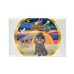 XmasStar/Silver Poodle #8 Rectangle Magnet (10 pac
