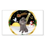 Night Flight/Silver Poodle Sticker (Rectangle)