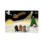 Night Flight/4 Poodles Rectangle Magnet (10 pack)