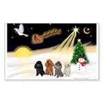 Night Flight/4 Poodles Sticker (Rectangle)