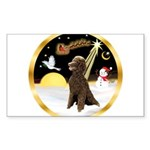 Night Flight/Poodle Std(choc) Sticker (Rectangle)