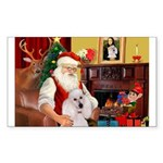Santa's Std Poodle(w) Sticker (Rectangle)