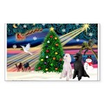 XmasMagic/ 2 Std Poodles Sticker (Rectangle)