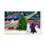 XmasMagic/ 2 Std Poodles Rectangle Car Magnet