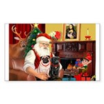 Santa's Two Pugs (P1) Sticker (Rectangle 50 pk)