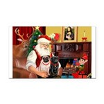 Santa's Two Pugs (P1) Rectangle Car Magnet