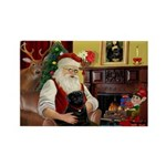 Santa's Black Pug Rectangle Magnet (10 pack)
