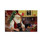 Santa's Black Pug Rectangle Magnet