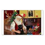 Santa's Black Pug Sticker (Rectangle)