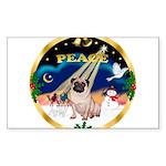 XmasSunrise/Pug Sticker (Rectangle 10 pk)