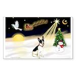 Night Flight/Rat Terrier Sticker (Rectangle 50 pk)