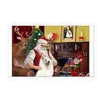 Santa's Samoyed Rectangle Car Magnet