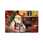 Santa's 2 Schnauzers Rectangle Magnet (10 pack)
