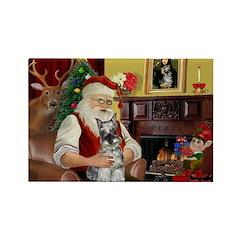 Santa's Mini Schnauzer Rectangle Magnet