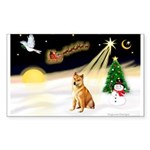 Night Flight/Shiba Inu Sticker (Rectangle 50 pk)