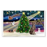 XmasMagic/Weimaraner 2 Sticker (Rectangle)