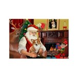 Santa's Corgi (#3P) Rectangle Magnet (10 pack)