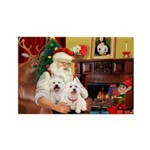 Santa's Westie pair Rectangle Magnet