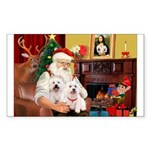 Santa's Westie pair Sticker (Rectangle 10 pk)