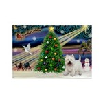 Xmas Magic & Westie Rectangle Magnet (10 pack)