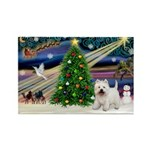 Xmas Magic & Westie Rectangle Magnet