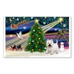 Xmas Magic & Westie Sticker (Rectangle 50 pk)
