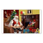 Santa's Whippet Sticker (Rectangle 10 pk)