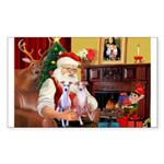 Santa & his 2 Whippets Sticker (Rectangle 10 pk)