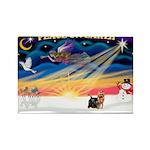 XmasSunrise/Yorkie #9 Rectangle Magnet (10 pack)