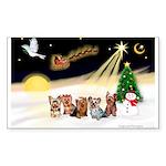 Night Flight/5 Yorkies Sticker (Rectangle 50 pk)