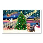 Xmas Magic & Yorkie Sticker (Rectangle)