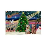 XmasMagic/2 Yorkies Rectangle Magnet (10 pack)