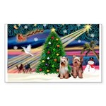 XmasMagic/2 Yorkies Sticker (Rectangle 10 pk)