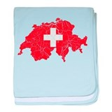Switzerland Flag And Map baby blanket