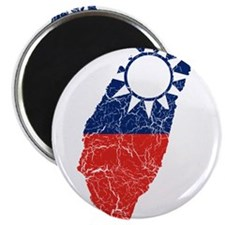 "Taiwan Flag And Map 2.25"" Magnet (10 pack)"