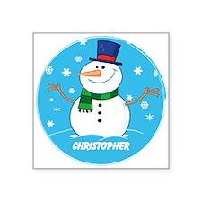 Cute Personalized Snowman Xmas gift Square Sticker