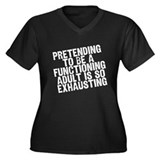 functioning adult Women's Plus Size V-Neck Dark T-