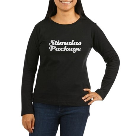 stimulus package Women's Long Sleeve Dark T-Shirt