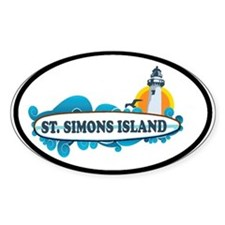 St. Simons Island - Oval Design. Decal